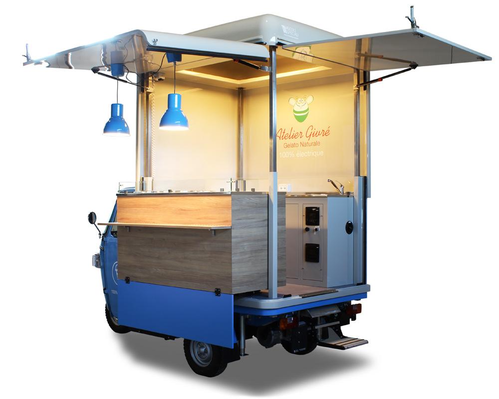 ape elettrica gelateria ambulante francia atelier givre